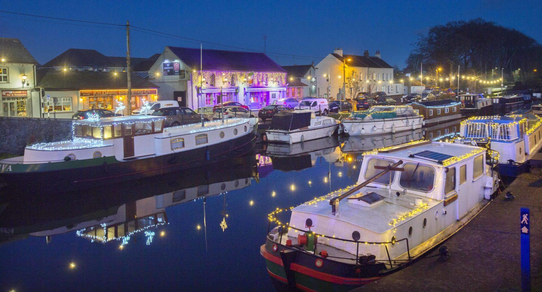 Christmas lights at Sallins Harbour.Photo: Tony Gavin 20/12/2019